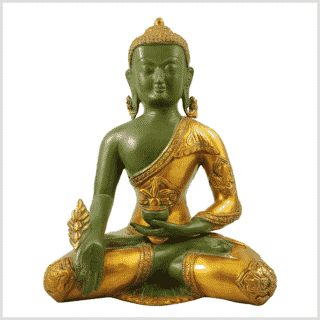 Medizinbuddha 5,6kg grüngold antik Vorderansicht