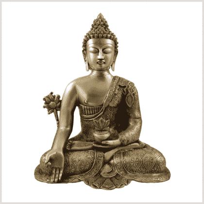 Medizinbuddha 10,6kg Messing Vorderansicht