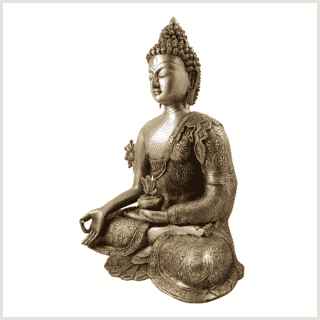 Medizinbuddha 10,6kg Messing Seitenansicht links