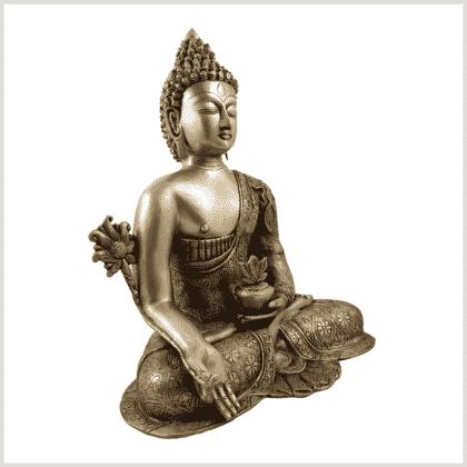Medizinbuddha 10,6kg Messing Seitenansicht rechts