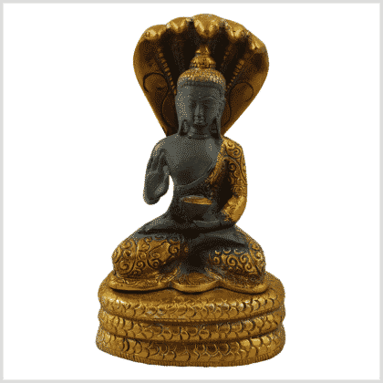 Naga Buddha 20cm Messing graugold Vorderansicht