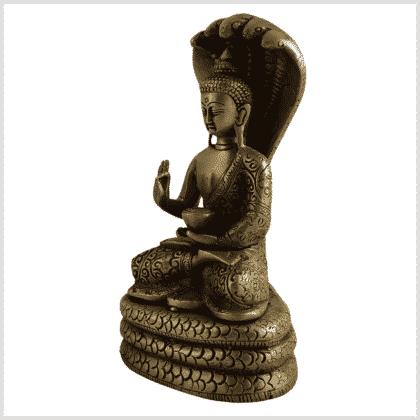 Naga Buddha 18,5cm Messing Seitenansicht links