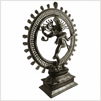 Shiva Nataraja 56cm braungrün Pattina Seite rechts