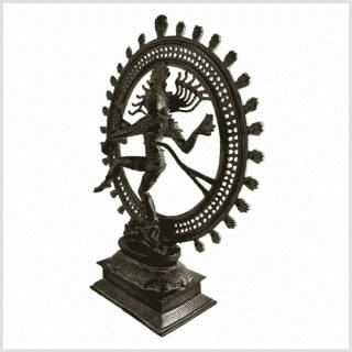 Shiva Nataraja 56cm braungrün Pattina Seite links