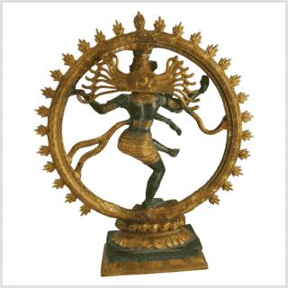 Shiva Nataraja Fine 17Inch Grüngold Hinten