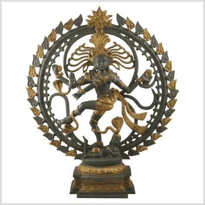 Shiva Nataraja Aum 14,3kg Graugold Vorderansicht