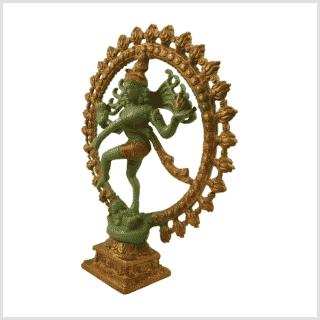 Nataraja Shiva 2,2kg Messing grüngold Seitenansicht