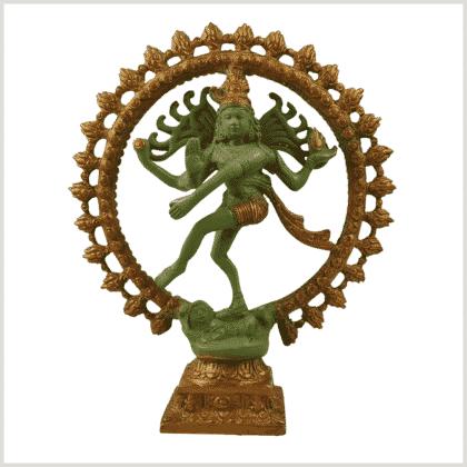 Nataraja Shiva 2,2kg Messing grüngold Vorderansicht