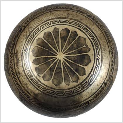 Universalklangschale Aum Mantra Ying Yang 1650g Boden