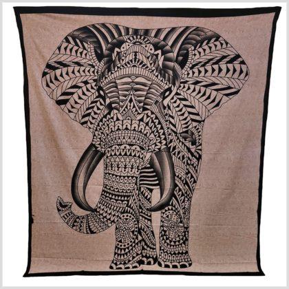 Wandtuch Elefant Beige Schwarz Vollansicht