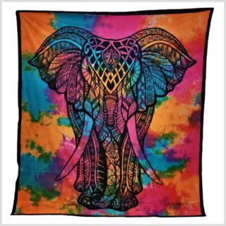Wandtuch Elefant Batik Bunt Version 2