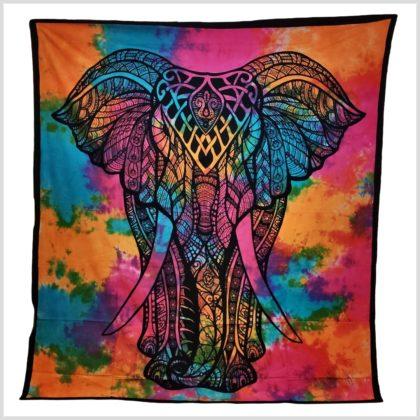 Wandtuch Elefant Batik Bunt Version 2