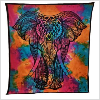 Wandtuch Elefant Batik Bunt Version 1