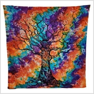 Lebensbaum Wandtuch batik bunt groß