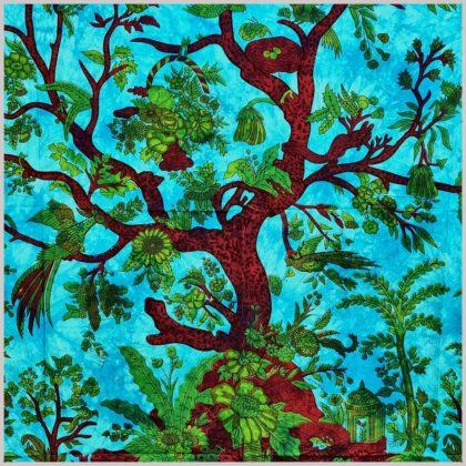 Lebensbaum Wandtuch Blau Türkis Nahansicht