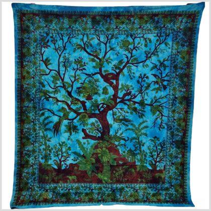Lebensbaum Wandtuch Blau Türkis Vollansicht