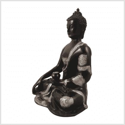 Erdender Buddha Ashtamangala 25cm schwarzsilber Seite links