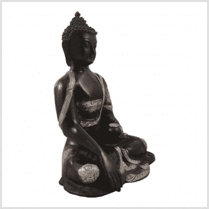 Erdender Buddha Ashtamangala 25cm schwarzsilber Seite rechts