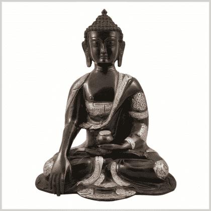 Erdender Buddha Ashtamangala 25cm schwarzsilber Vorderansicht