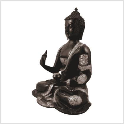 Ashtamangala Buddha 2,8kg 25cm schwarzsilber Seite links