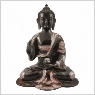 Ashtamangala Buddha 2,8kg 25cm schwarzsilber Rücken Vorne