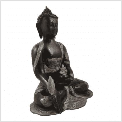 Ashtamangala Medizinbuddha 25cm schwarzsilber Seite rechts