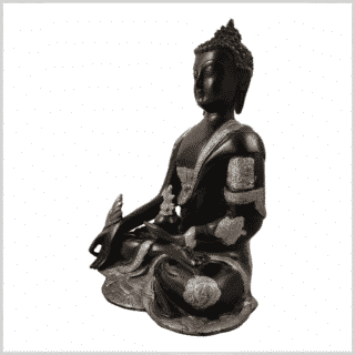 Ashtamangala Medizinbuddha 25cm schwarzsilber Seite links