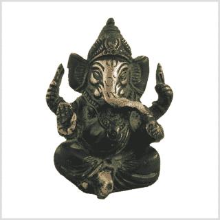 Glücksbringer Ganesha Messing grünantik