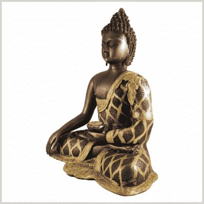Erdender Buddha 9,6kg Messing Kupfer Seite links
