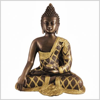 Erdender Buddha 9,6kg Messing Kupfer Vorderansicht