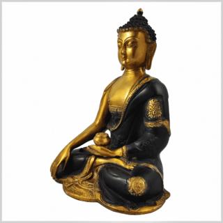 Erdender Buddha Ashtamangala 25cm braungold Seite links