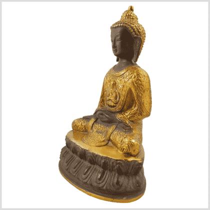 Erleuchteter Buddha 2,22kg 23,5cm kaffeebraun Seite links