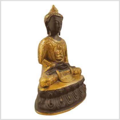 Erleuchteter Buddha 2,22kg 23,5cm kaffeebraun Seite rechts