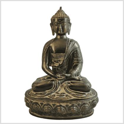 Erleuchtungsbuddha 31cm grün Pattina Vorderansicht