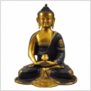 Erleuchtungsbuddha 25cm 2,8kg braungold Vorderansicht