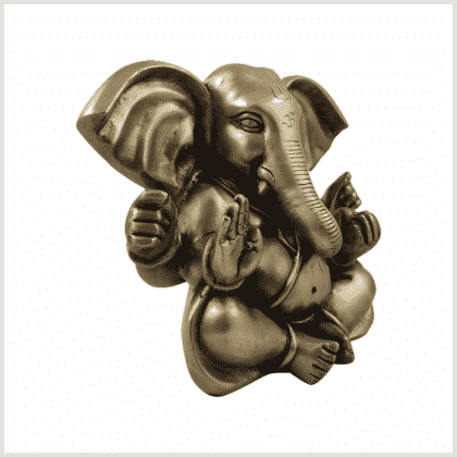 Mukesh Ganesha 19,5cm 4,8 Kilo Messing Seite rechts