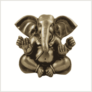 Mukesh Ganesha 19,5cm 4,8 Kilo Messing Vorderansicht