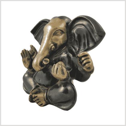 Großohr Ganesha 4,8kg Messing grünantik Seite links