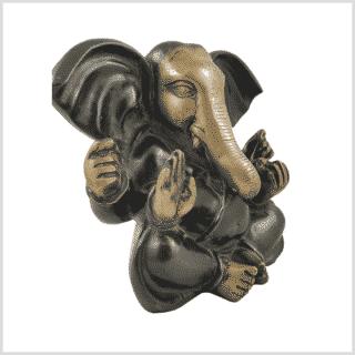Großohr Ganesha 4,8kg Messing grünantik Seite rechts