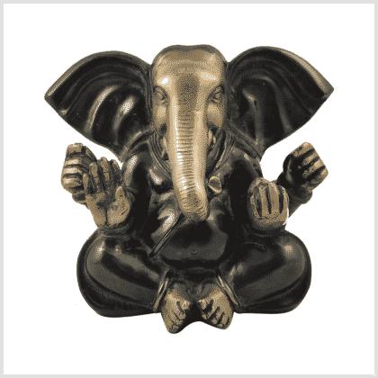 Großohr Ganesha 4,8kg Messing grünantik Vorderansicht