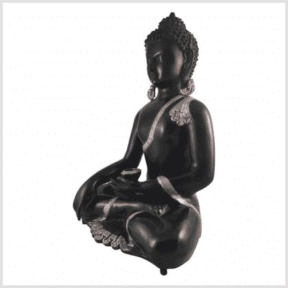 Erdender Buddha Kundal silberschwarz 51cm Seite lins