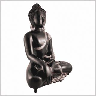 Erdender Buddha Kundal silberschwarz 51cm Seite rechts