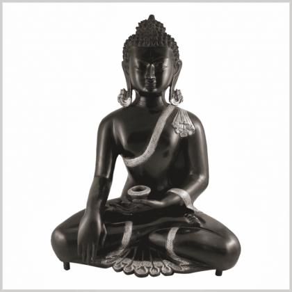 Erdender Buddha Kundal silberschwarz 51cm Vorderansicht