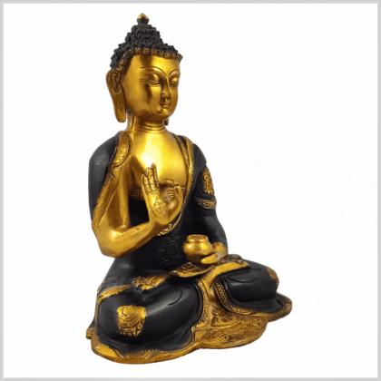 Vitarka Mudra Buddha Ashtamangala 25cm braungold Seite rechts