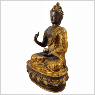 Lehrender Buddha 33cm kaffeebraun gold Seite Links