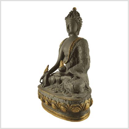 Medizinbuddha 4kg 33cm Lifebuddha graugold Seite links
