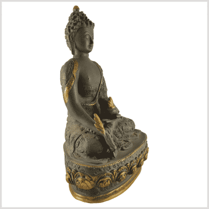 Medizinbuddha 4kg 33cm Lifebuddha graugold Seite rechts