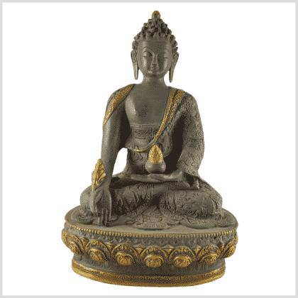 Medizinbuddha 4kg 33cm Lifebuddha graugold Vorderansicht