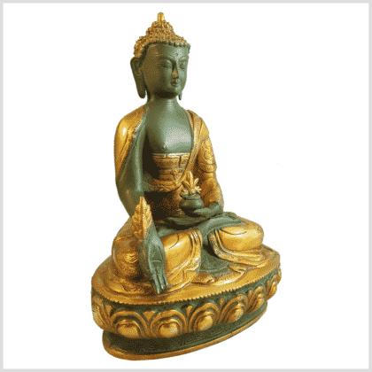 Medizinbuddha Ashtamangala 31cm mintgrün Seite rechts
