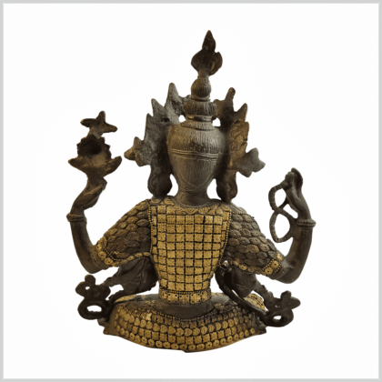 Avalokiteshvara Inlayarbeit grüngold 28cm hinten
